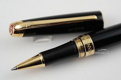 Caran d'Ache Leman Ebony Black Lacquer Rollerball Pen - Gold Plated Trim