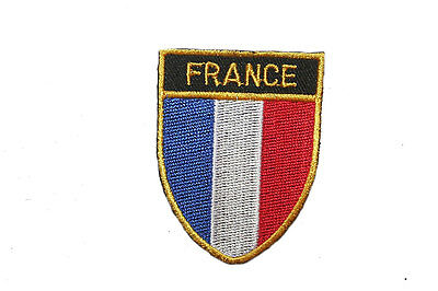 FRANCE COUNTRY FLAG OVAL SHIELD FLAG EMBROIDERED IRON-ON PATCH CREST BADGE - France Country Flag