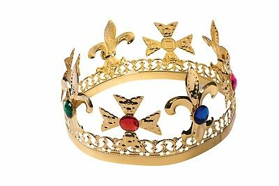 GOLD JEWELED CROWN ROYAL KING/QUEEN ADULT HALLOWEEN COSTUME ACCESSORY