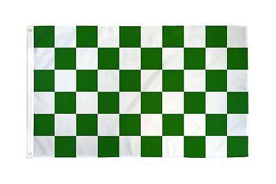 Checkered Green White Flag Banner 3' x 5' Polyester
