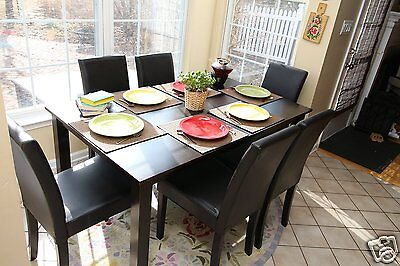 (7pc Espresso Dining Room Kitchen Set Table 6 Brown Leather Parson Chairs 7 piece)