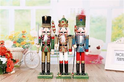 "11.8""Glitter Walnut Soldier Christmas Wooden German Nutcracker Gift For Sale"