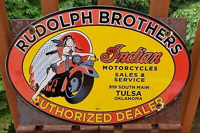 """VINTAGE 1947 INDIAN MOTORCYCLE RUDOLPH BROTHERS 16"""" PORCELAIN METAL GAS OIL SIGN"""
