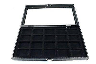 Glass Top 20 Lighter Black Zippo Collectors Display Case