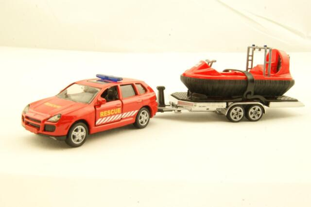 Siku 2549 Porsche Cayenne with Trailer and Hovercraft Fire & Rescue Scale 1:55