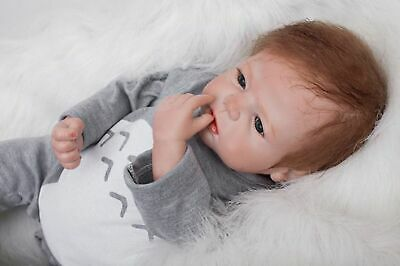 "22"" Reborn Baby Dolls Silicone Vinyl Soft Handmade Realistic Boy Baby Xmas Gift"