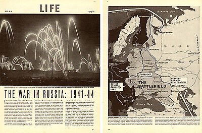 1944 WW2 Article, The War in Russia, Life Magazine maps photos 5 pages  -071114