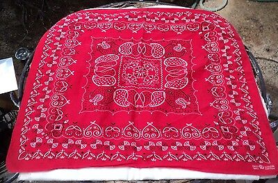 Vintage Red Bandana Handkerchief Elephant Trunk Up Fast Color Cotton USA 20""