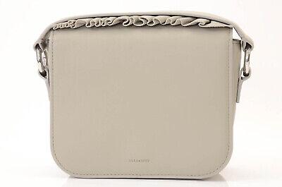 Allsaints Maya gray leather ruffle flap compact clutch handbag purse NEW $278