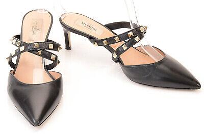 Valentino Rockstud black 9 39 leather wrap point toe slip on mule pump shoe $875