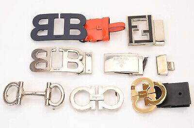 Various Designer 7pc engraved signature logo motif plaque belt buckles LOT $680