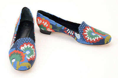 Tory Burch blue L7.5 R8 embroidered floral slip on loafer shoe NEW $348 Mismatch