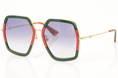 Gucci GG0106S red green stripe bee oversized square frame sunglasses NEW $450