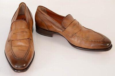Santoni light brown 10 leather apron point toe slip on penny loafer shoe $795