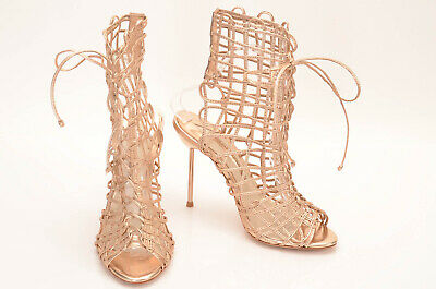 Sophia Webster rose gold L7.5 R8 cage strappy bootie stiletto shoe NEW $650