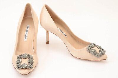 Manolo Blahnik beige 7.5 37.5 satin crystal buckle point toe pump shoe NEW $995