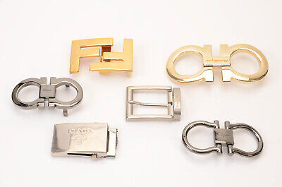 Various Designer 6pc engraved signature logo motif plaque belt buckles LOT $680