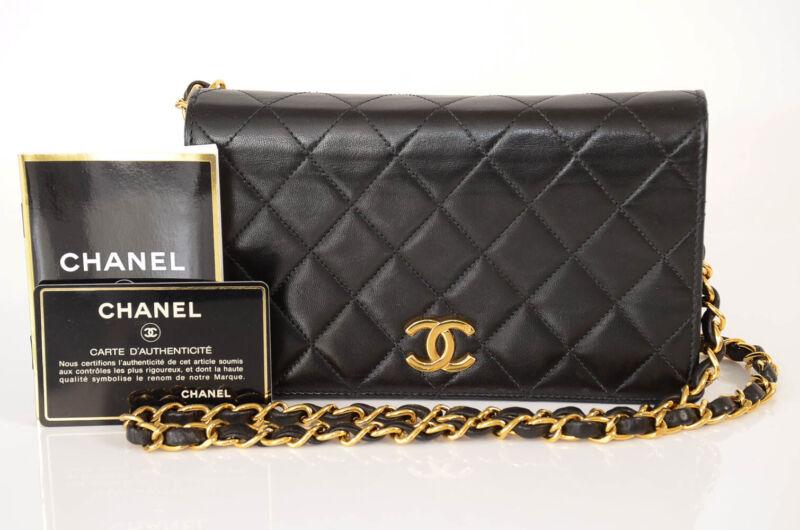 Chanel black leather quilted signature logo vintage shoulder handbag purse $3000