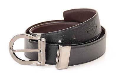 Salvatore Ferragamo black brown 33 pebbled leather reversible gancini belt $350