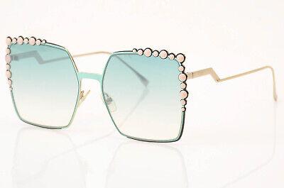 Fendi 0259/S mint green spike trim oversized square frame sunglasses NEW $570
