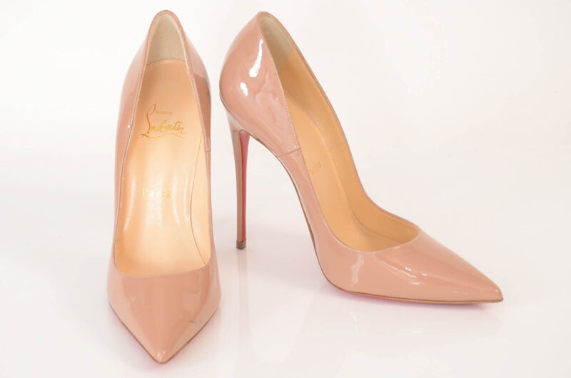 Christian Louboutin nude beige 8 38 patent slip on point toe pump shoe NEW $625