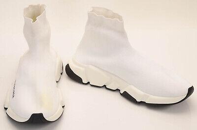 Balenciaga white 8 sock pull on signature logo trainer sneaker shoe NEW $780