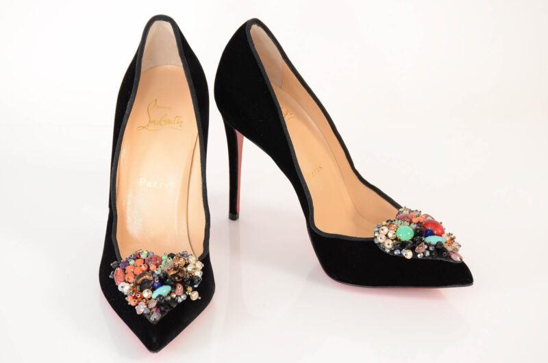 Christian Louboutin black 7 37 velvet point toe embellished pump shoe NEW $1295