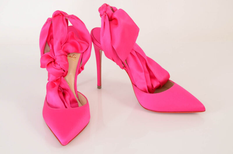 Christian Louboutin hot pink 7 37 satin point toe ankle tie pump shoe $895
