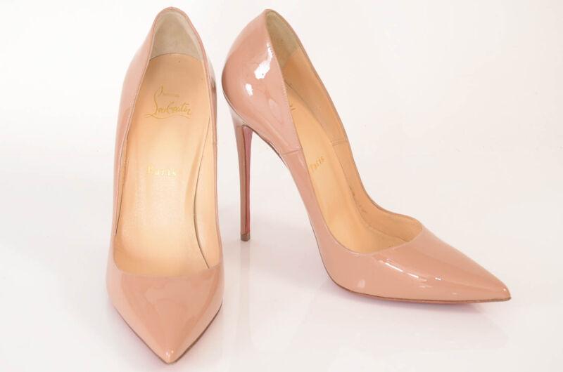 Christian Louboutin nude beige 9.5 39.5 patent slip on point toe pump shoe $625