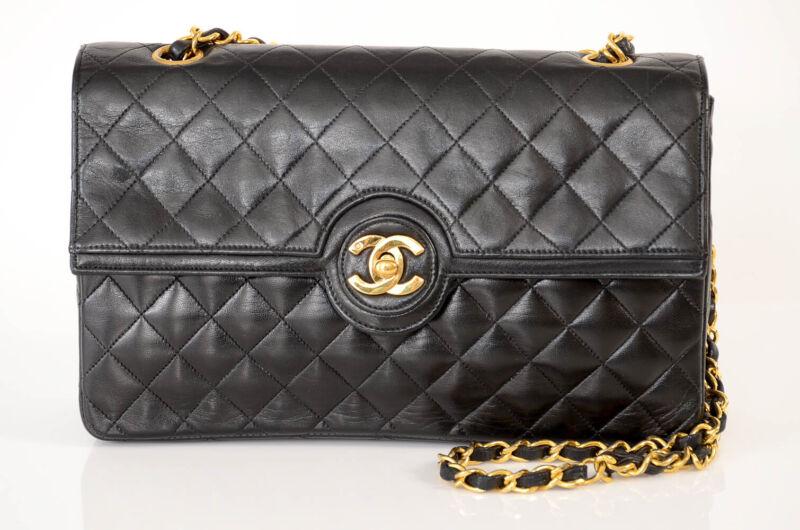 Chanel black leather quilted gold-tone CC vintage shoulder handbag purse $4900