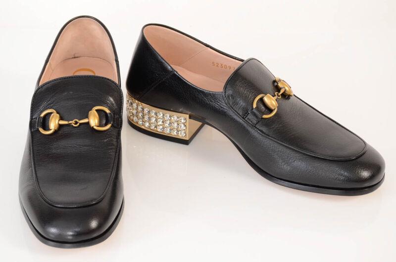 Gucci black 6 36 leather horsebit crystal embellished loafer pump shoe NEW $1150
