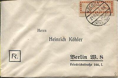 Gebührenzettel OPD Halle (Saale) 1 I d auf Brief Kelbra - Berlin (B05871)