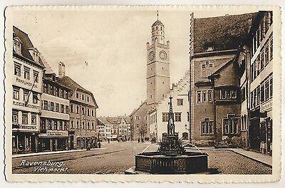 RAVENSBURG Viehmarkt & Blaserturm / Parfümerie & Friseur Schwarzbaur * AK u 1910