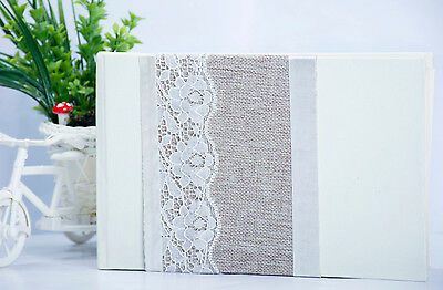 Luxury Wedding Guest Book in Vintage Style with Lace & Hessian Details in White