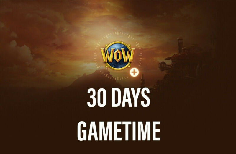 World Of Warcraft 30 Days Game Time, WoW, WoW Classic, BFA, Shadowlands (US)