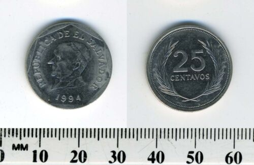 El Salvador 1994 - 25 Centavos Nickel Clad Steel Coin - Jose Matias Delgado