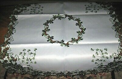 St Patricks Day Decor Tablecloth Celtic Irish Shamrock Embroider Topper 34