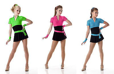 Jazz Tap BOND GIRL Dance Costume w/ gloves Hip Hop Blue Pink Green Child S & 6X7](Bond Girl Costume)