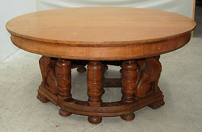 19th C American Oak Heavily Carved Winged Griffin Oak Dining Table 7247