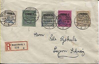 Gebührenmarken II Fa. Borek kompl. auf R-Brief Braunschweig nach Luzern (B05874)