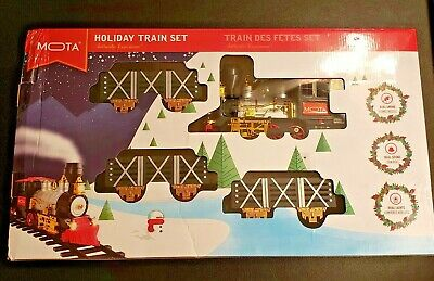 Classic Holiday Christmas Train Lights and Sounds Set with Real Smoke Authentic