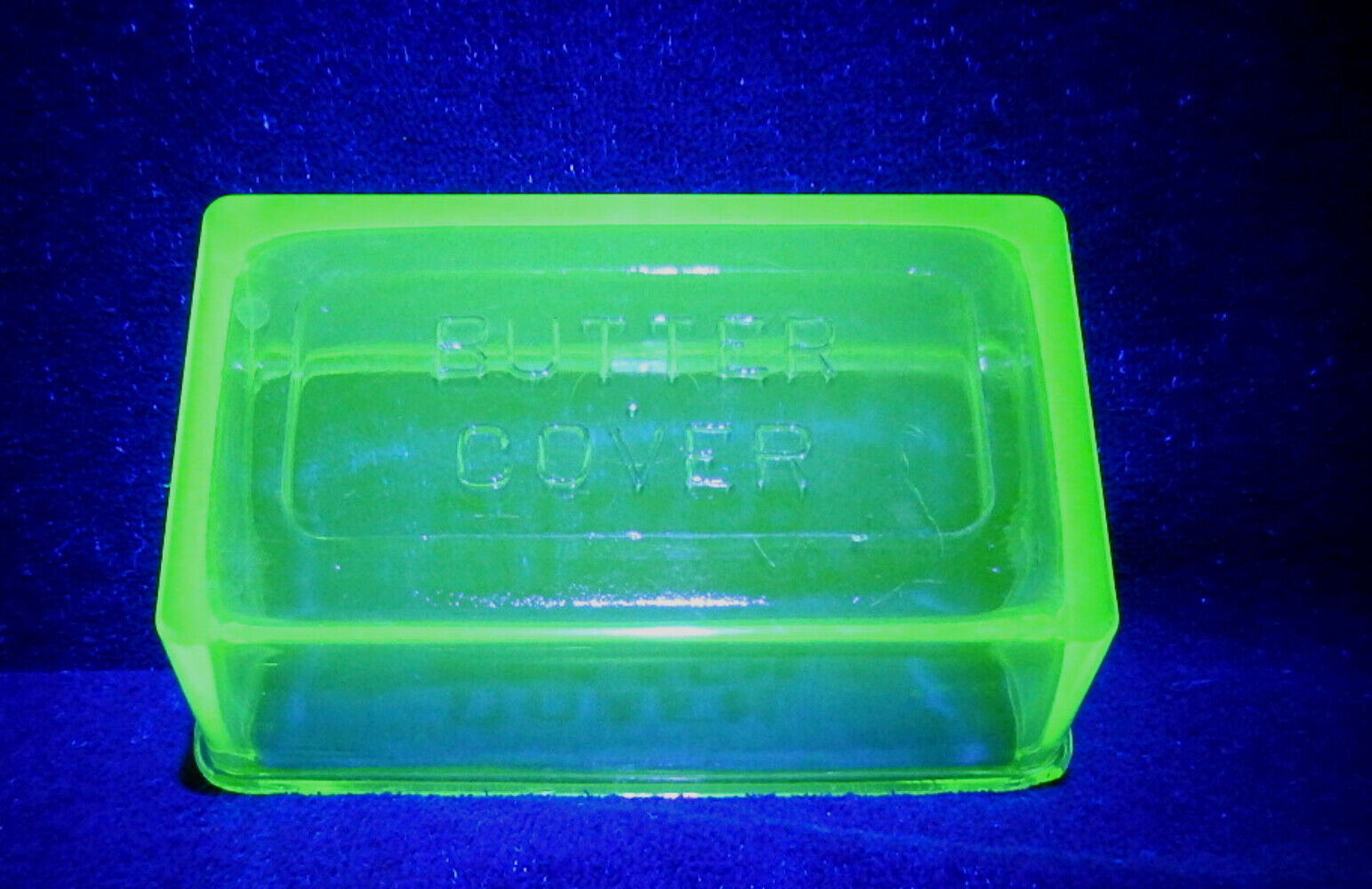 Green Depression Uranium Glass Hazel Atlas Butter Cover Top Only  - $9.50