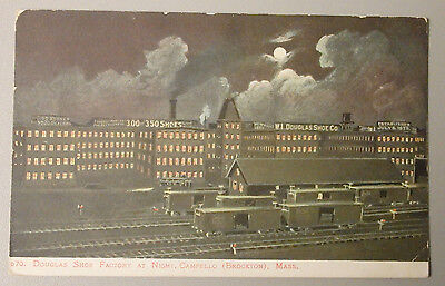 1905 DOUGLAS SHOE FACTORY AT NIGHT CAMPELLO (BROCKTON) MASS & RAILROAD