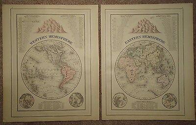 HEMISPHERE EAST WEST MAP OLD ANTIQUE 1887 VINTAGE ORIGINAL ATLAS MAP 1887/100615