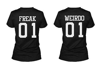 Freak 01 Weirdo 01 Matching Best Friends T-Shirts BFF Tees For Two Girls (Two Best Friends Shirts)