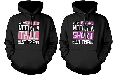 Cute BFF Matching Hoodie Sweatshirts for Tall and Short Best (Tall And Short Best Friends)