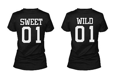Sweet 01 Wild 01 Matching Best Friends T Shirts BFF Tees For Two Girls (Two Best Friends Shirts)