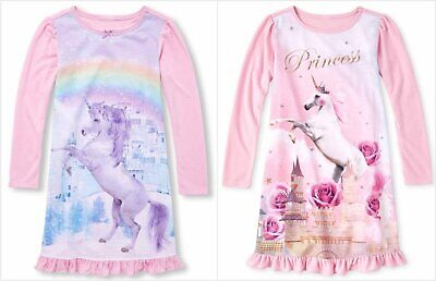 NWT The Childrens Place Girls Pink Glitter Unicorn Long Sleeve Nightgown Pajamas