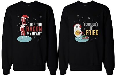 His and Hers Funny Matching Couple Sweatshirts - Bacon and Egg Winter - His And Hers Funny