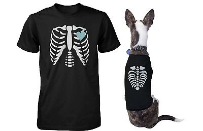 Skeleton Matching Pet and Owner T-shirts for Halloween Dog and Human Apparel](Halloween T Shirts For Dogs)